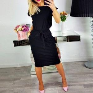 Dresses & Skirts - Women's Simple Midi Dress - Short Cuffed Sleeves